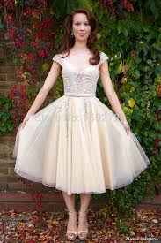 turmec lace tea length cap sleeve wedding dress