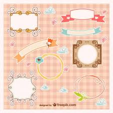 baby frames and ribbons vector free