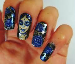 brush me blush dia de los muertos nails