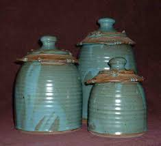 interior design stoneware pottery canister set of four rustic