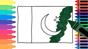 how to draw pakistan flag drawing the pakistani flag coloring