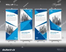 Blue Flag White X Blue White Roll Banner Template Design Stock Vektorgrafik