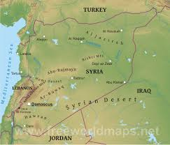 Middle East Physical Map by Syrian Desert On World Map