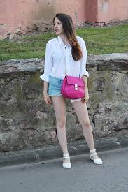 women u0027s white dress shirt light blue denim shorts white leather
