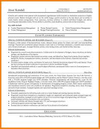 Event Coordinator Resume Template Resume For Special Events planner resume sample production planner resume business letters