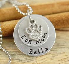 Personalized Stamped Necklace Personalized Hand Stamped Necklace Dog Mom Necklace Handstamped
