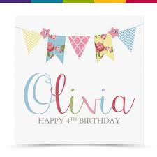 personalised handmade bunting birthday card female 1st 16th