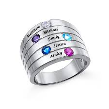 silver mothers ring five mothers ring in silver large size mynamenecklace
