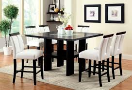 counter height dining room table sets furniture of america black larkions 7 counter height dining set