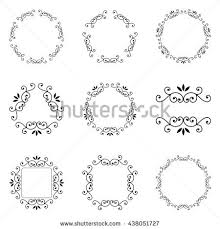 set frame isolated border ornament stock vector 583813069