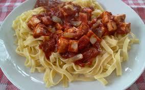 cuisine pates recette pâtes à la sauce tomate et au tofu économique et facile