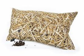 straw pillow filled with buckwheat hull 50x30 cm