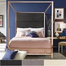 Metal Canopy Bed Evie Champagne Gold Metal Canopy Bed With Linen Panel Headboard By