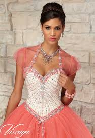coral quince dress satin and tulle with beading quinceanera dress morilee