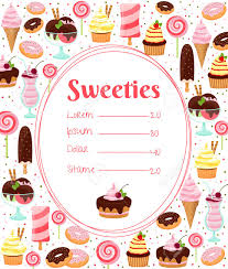 sweets menu or price list template royalty free cliparts vectors