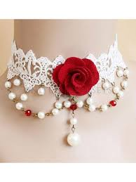 rose choker necklace images Gothic victorian wedding party white lace rose pearl choker necklace jpg