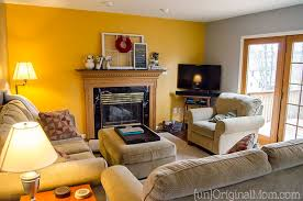 Yellow Accent Wall Living Room Makeover Step 1 Paint Unoriginal Mom