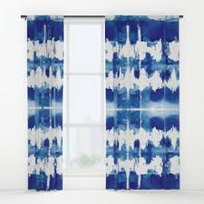 Blue And White Window Curtains Marble Window Curtains Society6