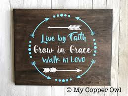 Family Wood Sign Home Decor Live By Faith Grow In Grace Walk In Love Wall Sign Home