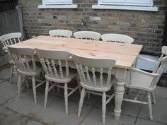 Second Hand Farmhouse Kitchen Tables - upcycled an old pine table and chairs into a cream and duck egg