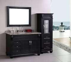 black wooden curved bathroom wall cabinet under undermount sink