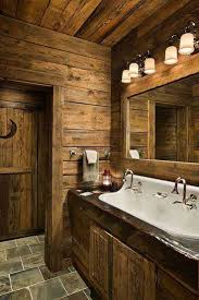 rustic farmhouse bathroom ideas simple green plant on pot wood