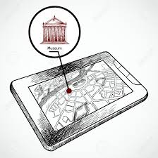 Navigation Map Sketch Draw Tablet Pc With Navigation Map And Find Museum Building