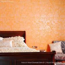 French Floral Damask Wall Pattern Stencil Romantic Allover - Wall paint design