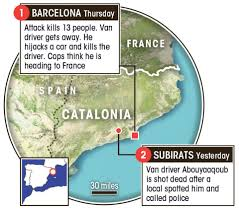 exact spot where barcelona massacre driver was shot by cops as