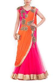 Fish Style Saree Draping Buy Indo Western Saree Online Zardosi Work Sarees Stitched