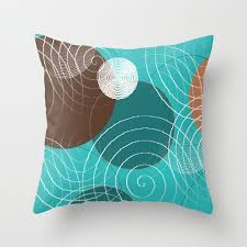 items similar to turquoise brown throw pillow cover teal white tan