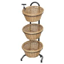 black metal 3 tier basket stand with 3 brown wicker baskets 15 1