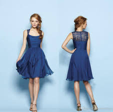 pretty simple junior bridesmaid dresses nave blue short chiffon a