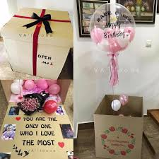 helium balloon delivery in selangor pink white happy birthday balloon box giftr