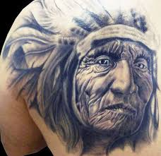 3d indian chief tattoo on left back shoulder by silvano fiato