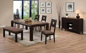 dining room table with upholstered bench