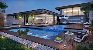 mesmerizing exteriors plus modern garden design with pool