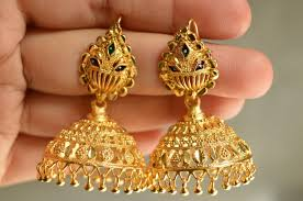 gold earrings for wedding south indian traditional gold plated jhumka jhumki wedding