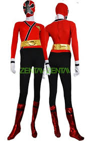power ranger samurai megazord red black spandex lycra catsuit 2