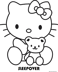 kitty sleepover coloring pages free kids girls