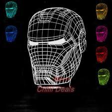 Iron Man Night Light Iron Man Helmet Led 3d Hologram Night Light