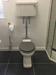 traditional burlington medium level wc with olive seat burlington