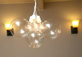 lighting floating bubble chandelier with double wall sconces and