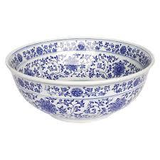 White Vessel Sink Shop Eden Bath Ming Dynasty Blue White Vessel Round Bathroom Sink
