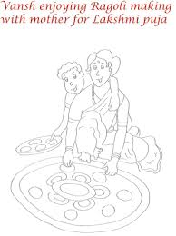 rangoli on diwali printable coloring page for kids