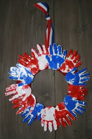 kids u0027 handprint wreath cut out large stars in red white and blue