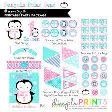 penguin u0026 polar bear printable party package dimple prints shop