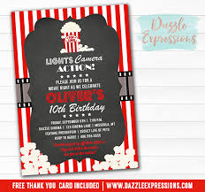 printable movie night birthday invitation movie or cinema event