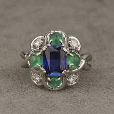 sapphire emerald rings images Pre owned platinum synthetic sapphire emerald and diamond ring set jpg