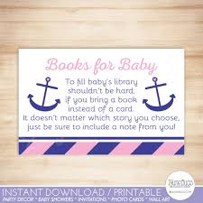 Library Card Invitation Nautical Anchor Baby Shower Book Request Cards Nautical Baby